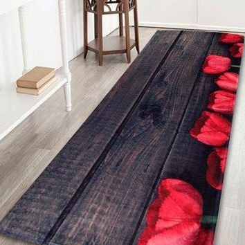 Coral Fleece Vintage Plank Floor Bathroom Rug