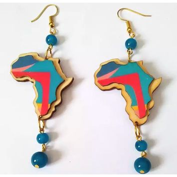 Beaded Africa earrings