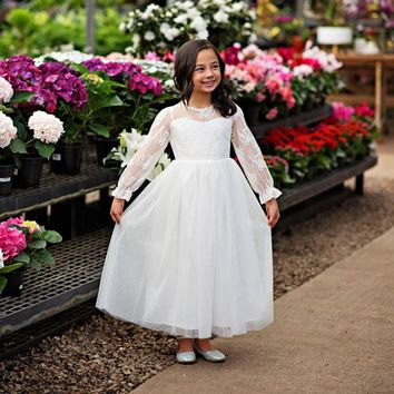 White Layla Ruffle Bell Sleeve Gown Dress