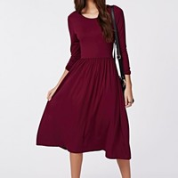 Missguided - Tilda Long Sleeve Jersey Midi Dress Oxblood