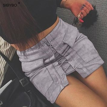 Sibybo 2017 Autumn Suede Leather Women Skirt Lace Up Vintage High Waist Preppy Pocket Winter Bodycon Bandage Short Pencil Skirts