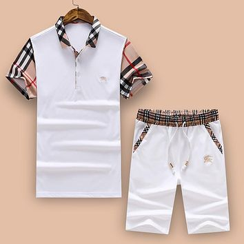 Burberry Trending Women Men Stylish Comfortable Shirt Top Tee Shorts Set Two-Piece White I-A00FS-GJ