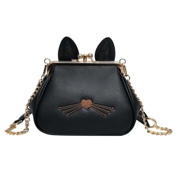 2017 New Women Messenger Bags Shell PU Leather Zipper Purses Chains Strap Shoulder Bags Lovely Cat Phone Purse Crossbody Bag Sac