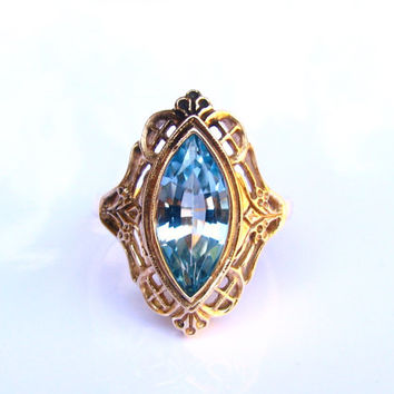 Blue Topaz Vintage Engagement Ring 2.11ct Marquise Blue Topaz Ring 10KP Yellow Gold Filigree Wedding Ring Size 6.5