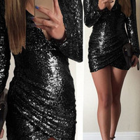 Black V-Neck Long Sleeve Backless Sequined Dress