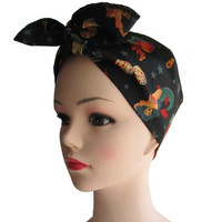Black Tattoo Print Fabric Head Wrap Scarf