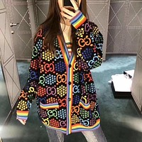 GUCCI New Women's Colorblock Double G Jacquard Embroidered Cardigan