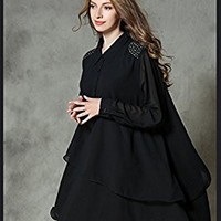 Women's Black Chiffon Dress Long Sleeve Casual Loose Fitting Plus Size Autumn Spring