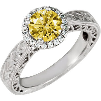 Sparkling 1.76 carats yellow canary & white diamonds engagement ring gold 14K