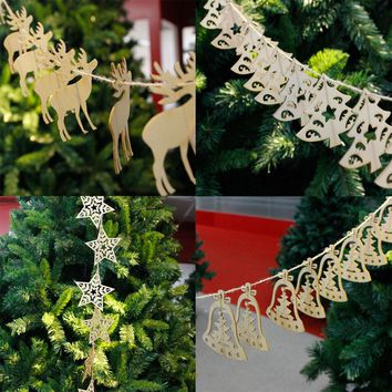 10Pcs 9*9cm Christmas Wood Chip Tree Ornaments Xmas Hanging Pendant Decoration Gifts