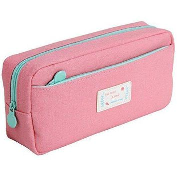 CREYXT3 Samaz Large Capacity Canvas Pen Pencil Case Stationery Pouch Bag Case Cosmetic Bags (Pink)