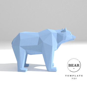 Printable DIY template (PDF).  Bear low poly paper model. 3D paper trophy. Origami.