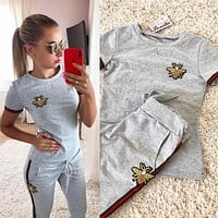 GUCCI Women Fashion Embroidery Top Sweater Pullover Pants Trousers Set Two-Piece Grey
