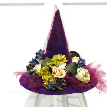 Victorian Witch Hat / Purple Witch Hat / Elegant Witch Hat / Witch Decor / Halloween Costume / Wicked Witch / English Rose Designs Oh