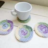 Round Crochet Coasters, variegated crochet coasters, wedding present, housewarming  gift, fabric lined, cute crochet coasters, granny chic