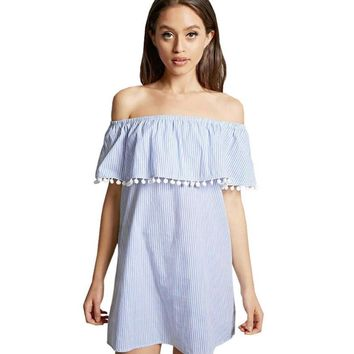 Fashion Summer Dress Women Loose Design White Blue Striped Off the Shoulder Mini Dress Casual Tassel Sexy Dresses Sundress