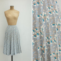 1950s Skirt - Vintage 50s Pleated Floral Skirt - Quiet Garden Skirt