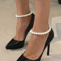 Shiny Gift Cute Ladies New Arrival Jewelry Sexy Simple Design Stylish Pearls Stretch Anklet [6042871297]