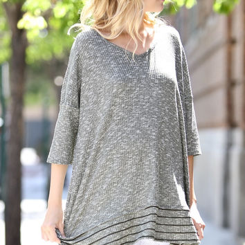 Textured Casual Quarter Sleeve Tunic - Olive