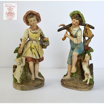 Pair Vintage Peasant Figurines Children w/ Dogs Boy & Girl w/ Basket of Flowers Hand Painted