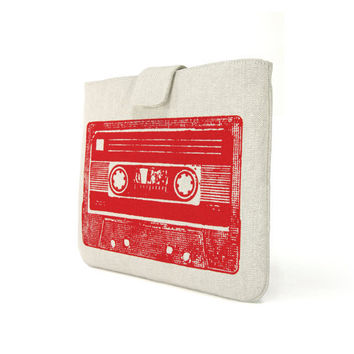 IPad case - Red vintage cassette mix tape print on light grey twill denim look for iPad 1 iPad 2 and new iPad  - Urban padded Ipad sleeve