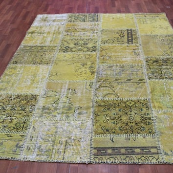 Overdyed Handmade Turkish Patchwork Carpet Mustard- Vintage Overdyed Turkish Rug- (245 X 280cm)(8 ft X 9 ft)