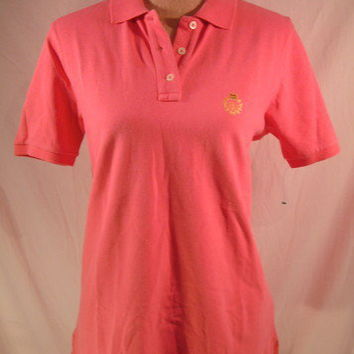 Ralph Lauren Shirt Bright Pink Crest tennis golf polo sz Medium