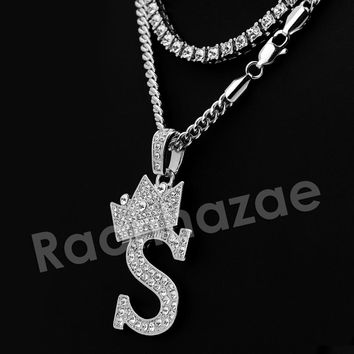 Iced Out King Crown S Initial Pendant Necklace Set.