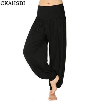 CKAHSBI 2017 Women Yoga Pants Men Plus Size yoga leggings Colorful Bloomers Dance Yoga TaiChi Full Length Pants Modal clothes