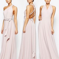 Coast | Coast Corwin V Neck Multiway Maxi Dress in Blush at ASOS