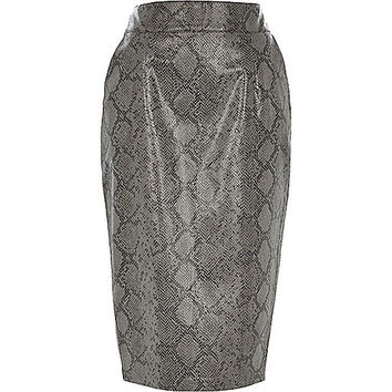 River Island Womens Black snake print leather-look pencil skirt