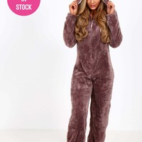 Reindeer Brown Fleece Onesuit