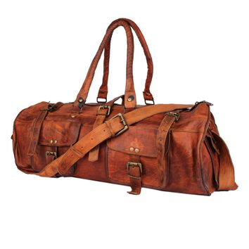IN-INDIA Hard Bound Heavy Duty Exclusive Pure Leather 2 Pocket Duffel Bag - 22 Inches