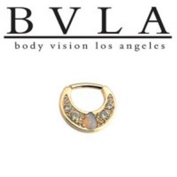 Body Vision BVLA Boston Tiger 14kt Gold Septum Clicker White Opal Pear 16g [36-0055 BVLA14kBosTWhitOpalPr16g] - $965.99 : Diablo Body Jewelry, The Art of High Quality