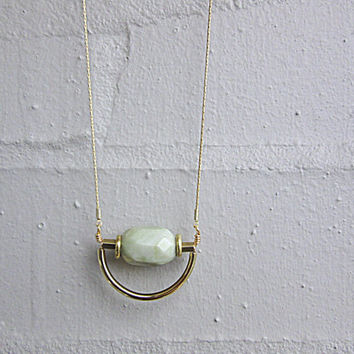 NL-203 African Yellow Turquoise Faceted Oval Bead with Brass Disc and Tube and Gold Curved Tube Pendant in 16K Gold Plated Brass Chain