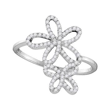 10kt White Gold Women's Round Diamond Flower Star Cluster Ring 1/5 Cttw - FREE Shipping (US/CAN)