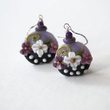 Mother's Day Jewelry, Flower Earrings, Purple Earrings, Lampwork Glass Bead Earrings, Beaded Earrings