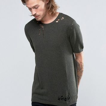 ASOS Knitted T-Shirt with Laddering at asos.com