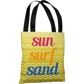 """Sun Surf Sand Chevron"" 18""x18"" Tote Bag by OneBellaCasa"