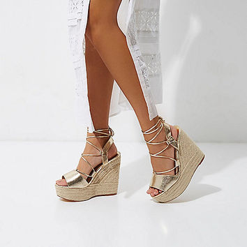 Gold wide fit tie espadrille platform wedges - Sandals - Shoes & Boots - women