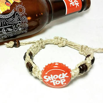 Beer Bottle Cap Macrame Bracelets/Unisex Boho Hippie Jewelry/Friendship Bracelets/Shock Top Beer