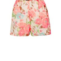 Parisian Pink Floral Print Belted Shorts