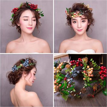 Colorful Berry Wreath Flower halo Bridal Floral Crown Hairband Wreath wedding headpiece Woodland Rustic Mermaid wreath