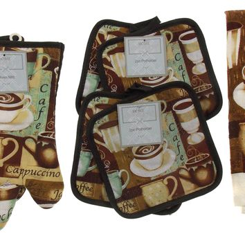 Coffee Mocha Cappuccino Cafe Oven Mitt Gloves Pot Holders Towels Set 8 Kitchen