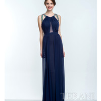 Navy Crystal Embellished A-Line Dress