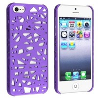 eForCity Snap-on Case Compatible with Apple iPhone 5, Dark Purple Bird Nest Rear