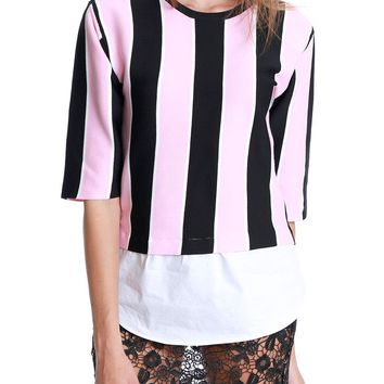 Simply So Stripe Knit Top - Pink/Black