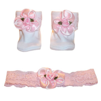 Baby Girls' Pink Satin Rose Headband and Booties