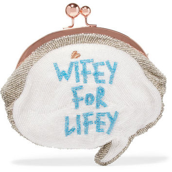 Sophia Webster - Wifey For Lifey beaded cotton clutch