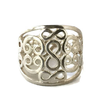 Openwork Sterling Silver Infinity Ring, Wide Band Sterling Silver Ring, Open Work Silver Ring, Eternity Ring,